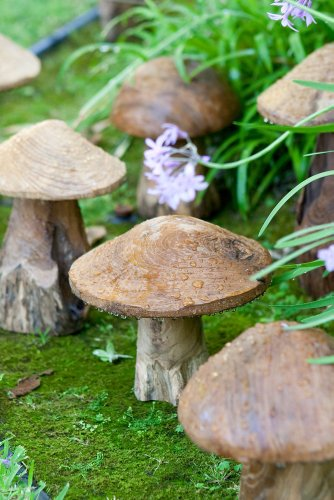 Garden Decorative Reclaimed Teak Mushroom Sculptures Set of 3, Mushroom Garden Figures, Lawn Ornament, Toadstools