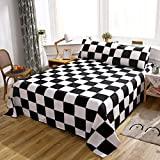 LAMEJOR Bed Sheet Set Queen Size Plaid/Grid Pattern Geometric Checkered Pattern Deep Pockets Easy Fit Hotel Luxury 4 Piece - 1 Flat Sheet, 1 Fitted Sheet, 2 Pillowcases Black/White