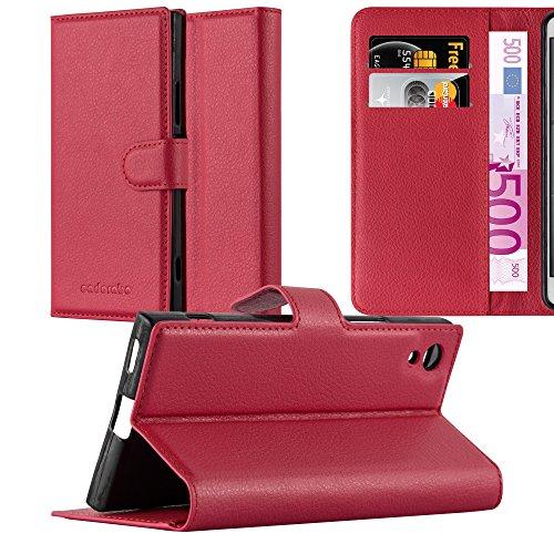 Cadorabo Funda Libro para Sony Xperia XA1 en Rojo CARMÍN - Cubierta Proteccíon con Cierre Magnético, Tarjetero y Función de Suporte - Etui Case Cover Carcasa