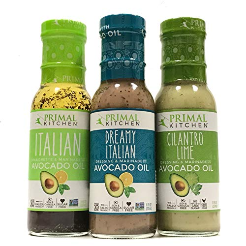 Primal Kitchen Dressing & Marinade, Made w/ Avocado Oil (Dreamy Italian, Italian Vinaigrette,Cilantro Lime) Paleo, Soy Free, Dairy Free, Gluten Free Pack of 3