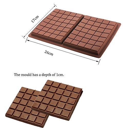 Silicone Moulds Chocolate Bar Sweet Moulds Candy Moulds Jelly Moulds Rectangle Baking Silicon Bakeware Mold Shape Soap Wax Flexible Baking Mould (6 Cell 5 Section) + Free Chocolate Silicone Mould
