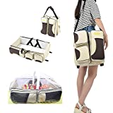 3 in 1 Universal Baby Travel Bag Portable Bassinet Crib Foldable Baby Bed Diaper Bag Changing Station Seat Tummy Time Folding Crib Nursery The Best for New mom and dad (Beige New)