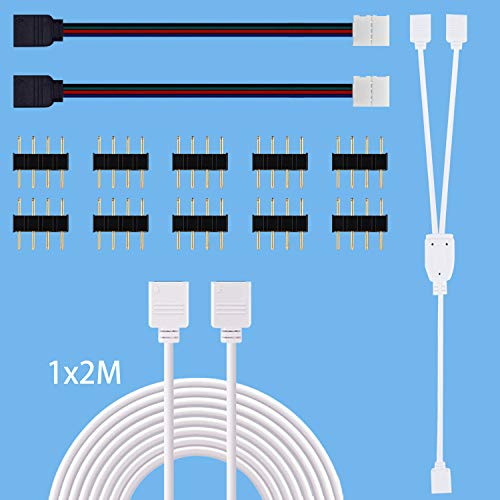 LED Strip Y Splitter, LED Strip Verlängerung 2m, Led Strip Verbinder, 4 Polig LED Verbinder 4 Pin LED Stecker LED Strip Verteiler RGB Kable für 10mm 4 Polig 5050 2835 LED Streifen LED Band LED Stripe