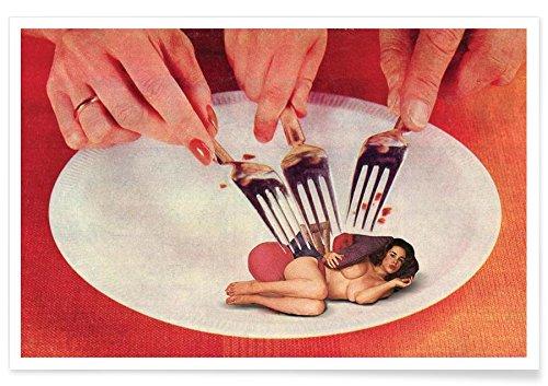 """Juniqe® Retro Poster 30x45cm - Design """"Light Snack"""" entworfen von Sammy Slabbinck"""