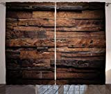 ABAKUHAUS Chocolate Cortinas, Madera en Bruto Oscuro, Sala de Estar Dormitorio...