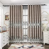 Tiyana Luxury Curtain for Living Room Ring Top Custom Grey Elegant Chenille Cloth Delicate Embroidery Window Dressing, 52 inch Wide by 84 inch Long, 1 Piece