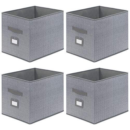 homyfort 4er Set Faltbare aufbewahrungsboxen stoffbox faltbox 33 x 38 x 33 cm, mit Ledergriffe Und Etikettenhalter, Fischgrätenmuster Grau, XROB38P4