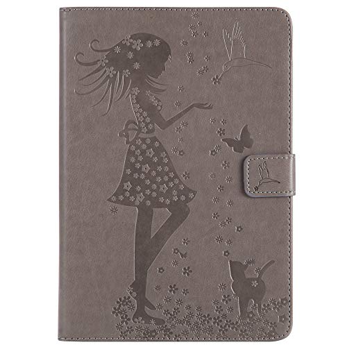 Bestcatgift iPad Mini PU Leather Wallet Custodias,[Embossed Women And Cats][Wake/Sleep Function][Touch Pen Cover] iPad Mini Smart Cover Wallet Custodia per iPad Mini 1 2 3 - Gray