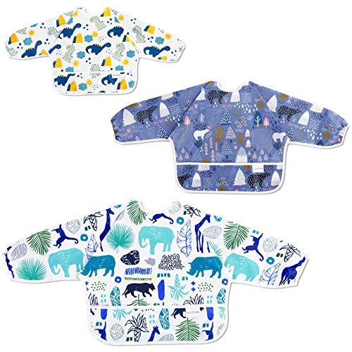 3 Pcs Long Sleeve Bib Baby 6-24 Months, Waterproof Bibs for Babies, Stain and Odor Resistant Toddler Bib with Pocket, Soft and Machine Washable Infants Bib Smock (Giraffe - Dinosaur - Polar Bear)