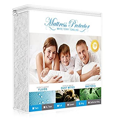 Lighting Mall Premium King Mattress Protector, 100% Waterproof Hypoallergenic Mattress Cover with Cotton Terry Surface, Breathable, Vinyl Free, 10 Year Warranty Offered by
