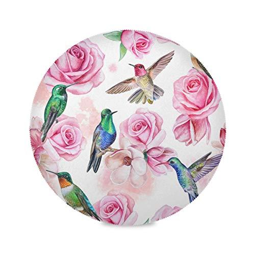 F17 - Juego de 1 manteles individuales redondos con diseño de colibrí (poliéster, antideslizante, resistente al calor, para cocina, hogar, café, mesa de comedor, decoración