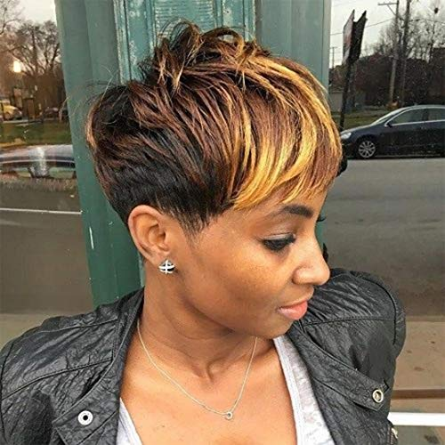 BeiSD Short Black Wig with Mixed Brown Bangs Natural Short Haircuts for Women Synthetic Short Wigs for Black Women… (7342)