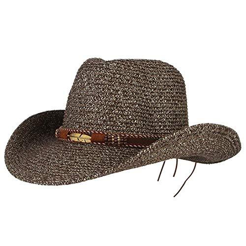 Cappelli Cappello da Sole Cappello da Cowboy Occidentale Cappello da Sole per Uomo Cowgirl Cappelli Estivi per Donna Cappello da Donna in Paglia con Perline in Piuma Cappello da Spiaggia Panama 5