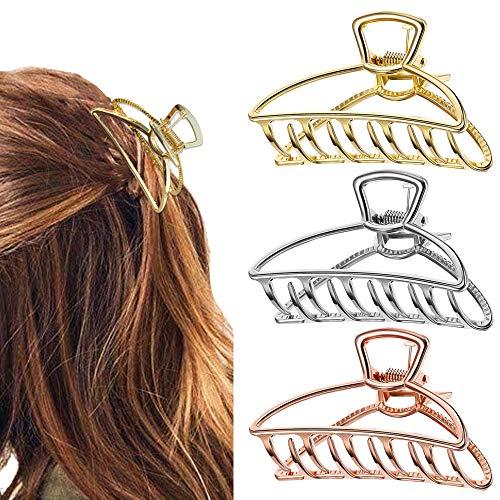 Haar Klaue Clips, 3 Stücke Metall Haargreifer Damen Elegant Haarspangen Rutschfeste Hohlkiefer Haarkrallen, Haarklammer Haar Dickes Haar Klaue Haarspange für Frauen Mädchen (Gold, Silber, Rosegold)