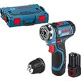 Bosch Professional GSR 12 V-15 FC Cordless Drill Driver + GFA-12B Drill Chuck Adapter with 2 x 12 V 2.0 Ah Lithium-Ion Batteries, L-Boxx