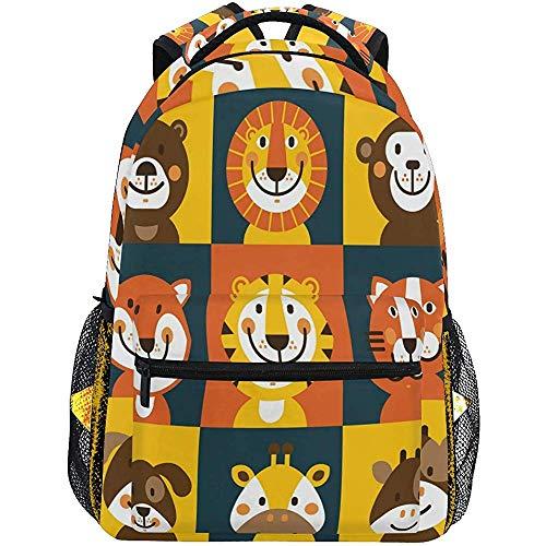 Motif de Chat Sacs à Dos pour Femmes Hommes Ours Lion Monkey Fox Tiger Chat Chien Girafe Vache Ordinateur Sac à Dos pour Ordinateur Portable, Casual Book Bag Voyage Camping Daypack