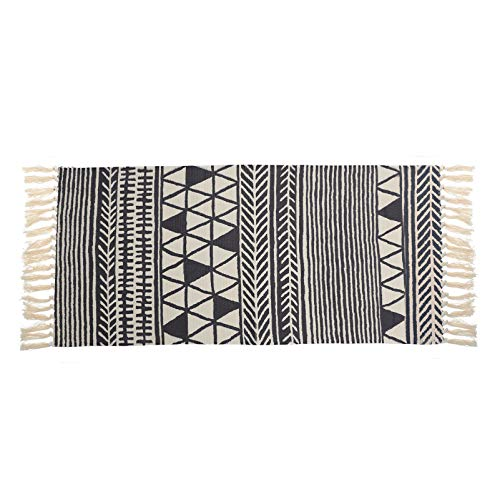 BESPORTBLE 1 caminho de mesa com franjas estilo étnico, faixa de mesa estampada de linho, tecido feito à mão com borlas tufadas, roupa de mesa, lavável, minimalista, decoração para casa
