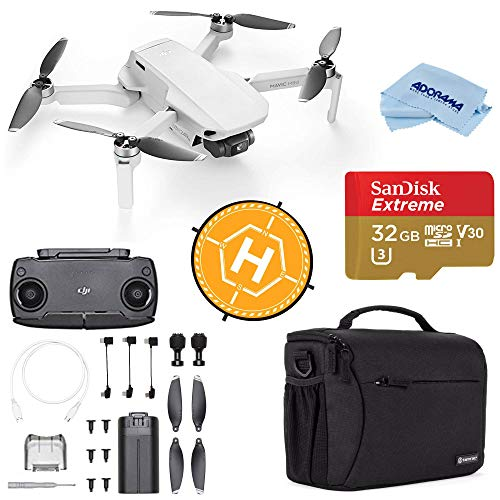 DJI Mavic Mini Drone FlyCam Quadcopter with 2.7K Camera 3-Axis Gimbal GPS, 30-Minutes Flight Time, Basic Bundle with Case, 32GB microSD Card, Landing Pad, and Cloth