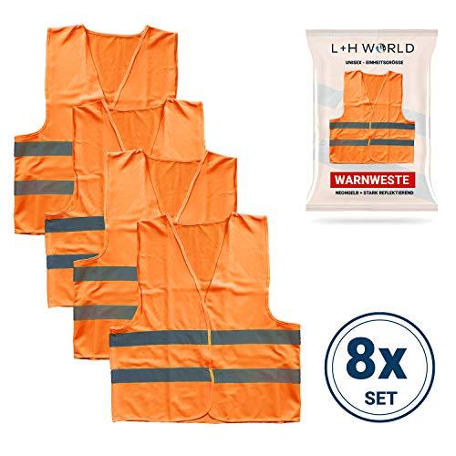 L + H 8 chalecos de advertencia para coche, color naranja, EN ISO 20471:2015, reflectante 360 grados, lavable, unisex, chaleco de seguridad para coche, coche, moto, calidad premium