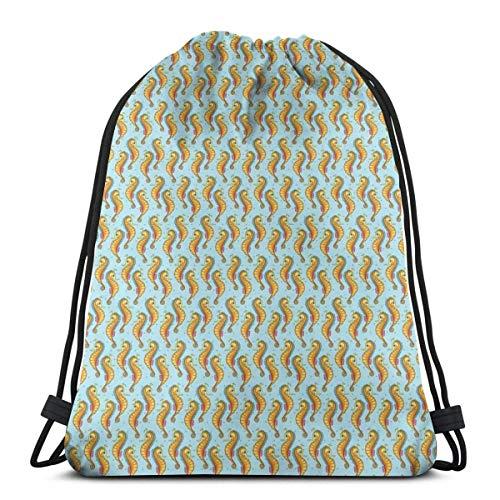 XCNGG Mochilas con cordón Bolsa de deporte deportiva Bolsa de viaje, Patrón náutico Divertido Caballitos de mar naranja Ilustración de dibujos animados para niños
