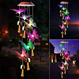 JOBOSI Red Cap Purple Butterfly Bell Wind Chimes Solar Gifts for mom, Butterfly Gifts for Women, Garden Decor, Yard Decor, Garden Gifts, Solar Wind Chime, Wind Chimes Outside