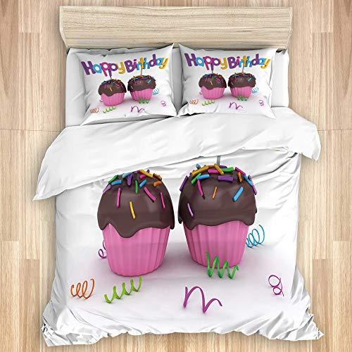 Kanxdecor Juego de Cama de 3 Piezas ,Impresión de Cupcakes de Chocolate de cumpleaños, Juegos de Funda nórdica de Microfibra Suave con 2 Fundas de Almohada Doble