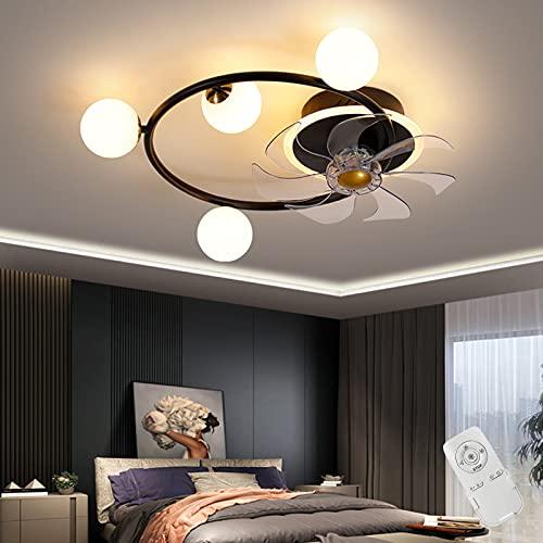 LED Ventilador Lámpara de Techo Silencio Regulable Vidrio Pantalla de Lámpara Control Remoto Luz de Techo 40W Moderno Ventilador de Techo Con Iluminación Cuarto Sala de Estar Comedo,Negro