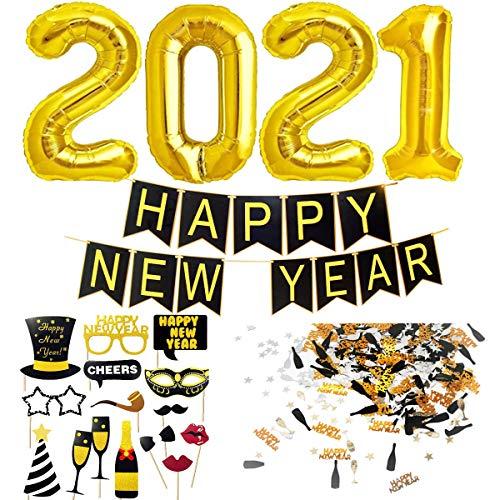 Decoracion Nochevieja 2021. Banderinas Feliz Año Happy New Year + Globos Gigantes + Accesorios de Fotomaton + Confeti para Fiesta de Víspera de Año