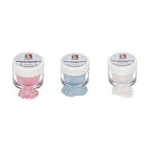 BlackSherbet Edible Glitter Sparkles Gender Reveal Set (5 Grams each) for Cakes, Drinks, Cupcakes. Food Grade. (Pink, Blue & White)
