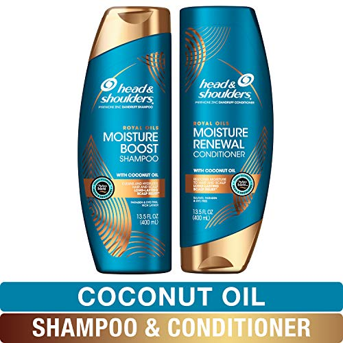 Head and Shoulders Shampoo and Conditioner Moisture Renewal Anti Dandruff Treatment and Scalp Care Royal Oils Collection with Coconut Oil for Natural and Curly Hair 27 fl oz Kit