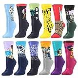 BISOUSOX Socken Damen Baumwollsocken für Frauen Strümpfe mit Lustigem Muster Sneaker Socken Damen Klassisch als Geschenk (36-39.5, 12Pairs-Materpiece1)