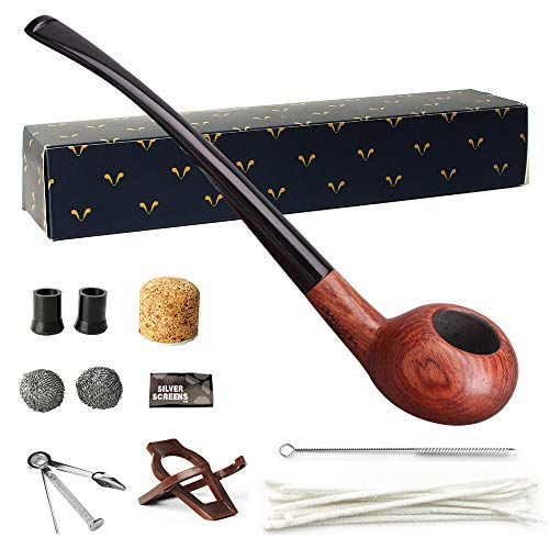 MUXIANG Churchwarden Tobacco Pipe Apple Pipe Tube Rosewood Long Tobacco Pipes fit 3mm Filters10 Gifts Pipe Cleaners Pipe Screen Filter Brush Bag Stand Rack AD0043