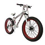 CHHD Fat Bike 26 Tamaño de la Rueda y género de los Hombres Bicicleta Gorda de Snow Bike, Fashion MTB 21 velocidades Freno de Disco Doble de Acero con suspensión Completa Bicicleta de m