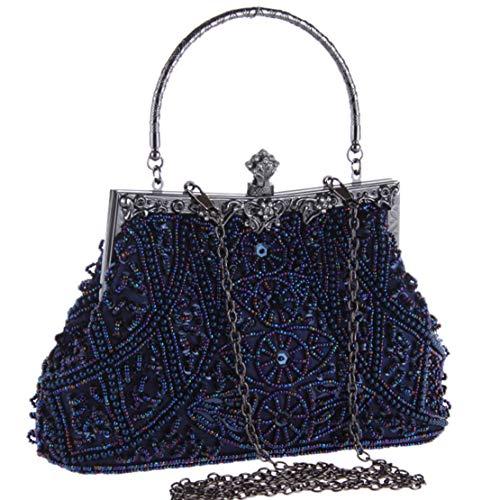 Coucoland Perlen Clutch Damen 1920s Handtasche Abend Party Geldbeutel Elegante Abschlussball Handtaschen Hochzeit Braut Zubehör (Blau)