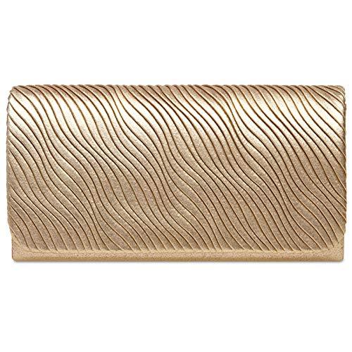 Caspar TA519 Bolso de Mano de Fiesta Clutch de Satén para Mujer, Color:dorado, Talla:Talla Única