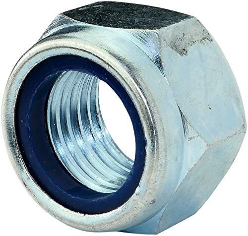 AERZETIX - Juego de 5 - Tuercas hexagonales de bloqueo - Tuercas autoblocantes con anillo de nylon - Metálico/Separado/Ensamblaje - Rosca M22 Métrica Hembra - DIN 985 - Acero galvanizado 5.8 - C45768