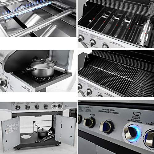 51ND2YakkwL - Gasgrill, BBQ Grillwagen Mit 5 Edelstahlbrennern Und Seitenkocher, Standgrill Mit Deckel Und Thermometer, Reinigungssystem