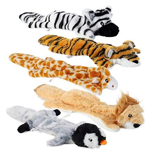 PETTOM 5 Pack Hund Quietschende Kauen Spielzeug Keine Füllung Hund Spielzeug Plüsch Tier Hundespielzeug für Kleine Medium Hunde