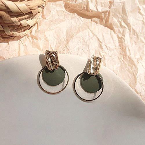 HUYV Stud Earrings For Woman,Fashion Dark Green Disc Earrings 925 Silver Stud Earrings For Christmas Birthday Jewelry Gift Men Girls