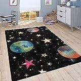 Alfombra Infantil Juego para Dormitorio Niños con Planetas Y Estrellas Negro, tamaño:80x150 cm
