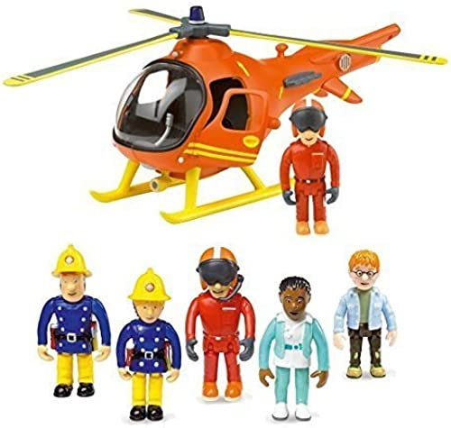 Firehomme Sam Mountain Rescue Helicopter & 5 Figure Articulated Set by HiT
