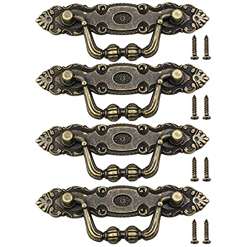 hocadon 4 Piezas Tiradores Vintage con Tornillos de Aleación de Zinc Bronce Antiguo, Tiradores de Cajón Estilo Retro, Tiradores Decorativos para Muebles, Cajones y Puertas(10.5*3.5cm)