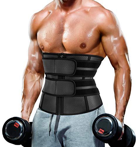 Waist Trainer Trimmer for Men Tummy Control Shapewear Neoprene Sweat Belt Slimming Body Shaper Black