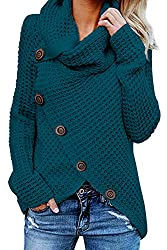 FEATURES: Turtle Cowl Neck Jumper with Button Details,Solid Color,Long Sleeve,Wrap Asymmetric Hem COMFY & SOFT: Made of quality fabric,cozy and warm,comfortable to wear STYLISH: The knitted coat with cardigan look design for a loose fit, the button i...