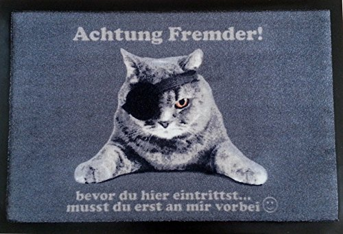 Fußmatte Fußabtreter Fußabstreifer Schmutzmatte Motiv Design Eule Cat Katze OWL (gray)