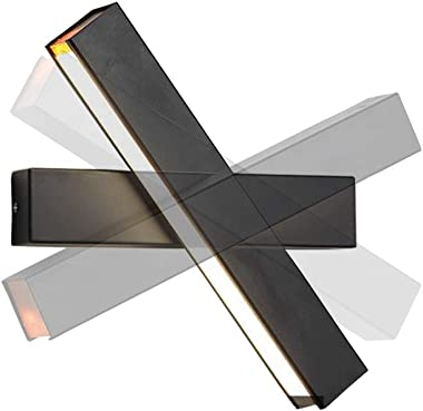 12W Applique Murale LED Lampe Noire Designe Créatif Luminaire Intérieur Rotation de presque 360 degrés Lampe de Mur pour Cham