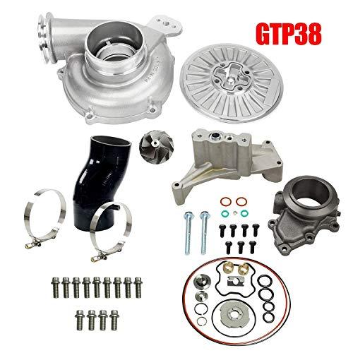 LucaSng GTP38 Turbo Compressor Wheel 66/88 Upgrade/Rebuild Kit For 1999.5~2003 Powerstroke 7.3L With Housing Pedestal Ebp Valve