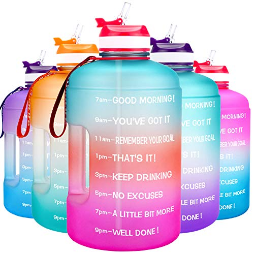 water bottle with straws QuiFit Motivational Gallon Water Bottle - with Straw & Time Marker BPA Free Large Reusable Sport Water Jug with Handle for Fitness Outdoor Enthusiasts