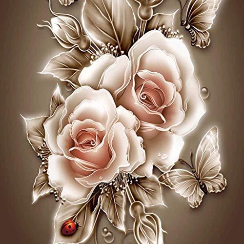 5D Diamond Painting Kit, DIY Diamond Art Craft for Adult, 11.8 x 11.8 inches (Golden Rose)