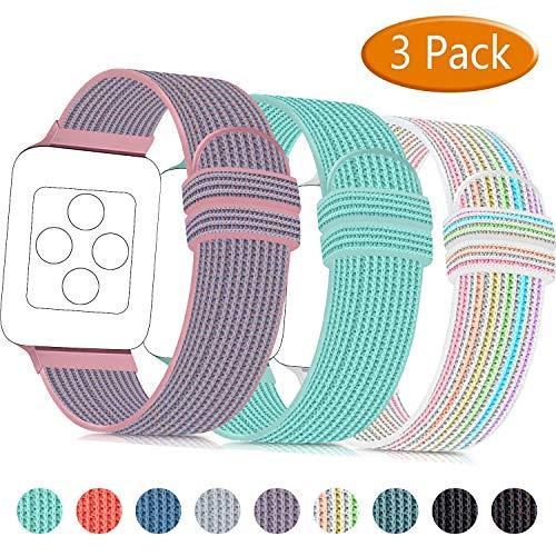 ATOO 3 Pezzi Nylon Cinturino Orologio per Apple Watch 38mm 40mm 42mm 44mm, Leggero Traspirante Cinturino di Ricambio Sportivo per iWatch Series 5 4 3 2 1 (38mm/40mm, Rosa/Verde/Arcobaleno)